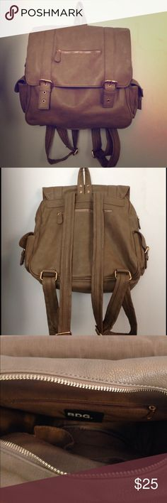 BDG Urban Outfitters Faux Leather Backpack BDG bag from UO: Med-large size backpack (Approx. 14''x12'' with a good .5''- 1'' more stretch space & 5''ish side width) Great for school or work! Mauve (tan/grey) color / Faux leather material / Tinted gold metal / 2 pockets on each side / A small zipper compartment on both front and back side / More compartments inside. Excellent condition! Urban Outfitters Bags Backpacks