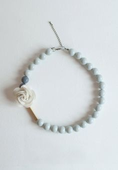 Flower Gray Resin Beaded Wedding Necklace Blue White by sanwaitsai