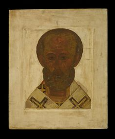 Full: Front Icon painted in egg tempera on wood prepared with gesso. The saint is presented frontally wearing the omophorion, symbol of his office as bishop. © The Trustees of the British Museum Byzantine Art, Saint Nicholas, Tempera, British Museum, Reign, Saints, Icons, Symbols, Gallery