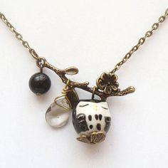 Antiqued Brass Branch Agate Quartz  Porcelain Owl Necklace