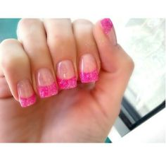 Pink glitter french acrylic nails