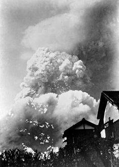 The mushroom cloud, photographed approximately 1.6 miles from ground zero,  Hiroshima, August 6th, 1945 by Yoshito Matsushige