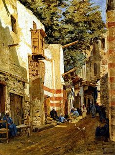 Street of the Sharbouri Cairo 1880 BY John Varley Junior ( British , 1850 - 1933 )