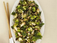 Fried Brussels Sprouts with Walnuts and Capers. Had these at his restaurant, AMAZING