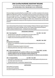 Free Sample Certified Nursing Assistant Resume   Creative Resume ...