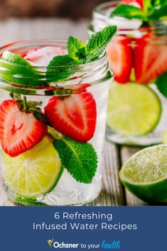 As summer heats up, we need ways to cool down. Infusing your water with herbs and fruit is the perfect way to not only add flavor but also electrolytes, vitamins and minerals, without all the added sugar. Registered Dietician Lauren Hulin shares six of her favorite infused water recipes. Infused Water Recipes, Vitamins And Minerals, Strawberry, Herbs, Healthy Recipes, Fruit, Sugar, Food, Detox Waters