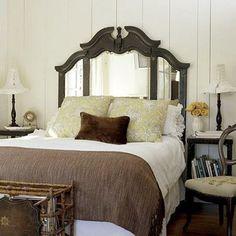 Love the repurposed dresser mirror as the headboard