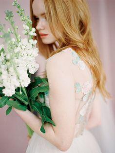 Dolores // Romantic wedding dress / Rose wedding gown / Polka dot wedding dress / Flower wedding gown / Pink wedding dress / Unique wedding
