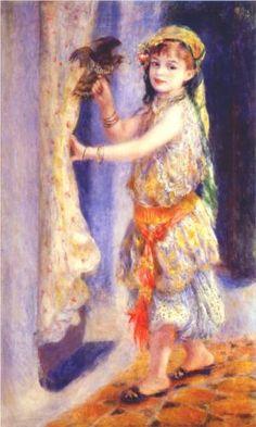 Girl with Falcon - Pierre-Auguste Renoir
