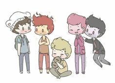 Harry as Finn, Louis as Flame Prince, Niall as Jake, Liam as Prince Gumball, and Zayn as Marshall Lee.