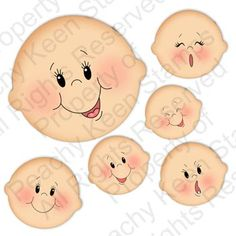 PK-570 Basic Paper Doll Face Assortment: Peachy Keen Stamps | Home of the original clear, peach-tinted, high-quality whimsical face stamps.