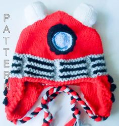 Knitting Pattern Robot hat Dalek Hat dr who character hat animal hat  novelty hat earflap beanie a0aa22db42
