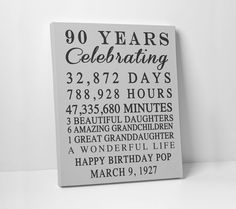 A personal favorite from my Etsy shop https://www.etsy.com/listing/257058460/happy-birthday-custom-print-gift-90