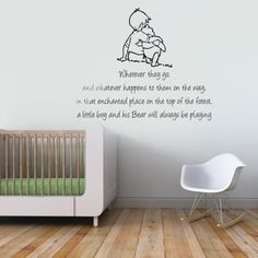 V&C Designs (TM) Winnie the Pooh Sometimes the Smallest Things Quote Children's Bedroom Kids Room Playroom Nursery Wall Sticker Wall Art Vinyl Wall Decal Wall Mural