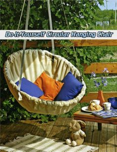 Do-It-Yourself Circular Hanging Chair  Read HERE --- > http://www.livinggreenandfrugally.com/do-it-yourself-circular-hanging-chair/