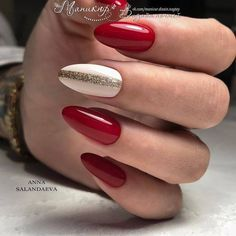 New Nail Trends: 21 Fashion Inspirations for You - Nowe Trendy Paznokciowe: 21 Modnych Inspiracji dla Was New Nail Trends: 21 Fashion Inspirations for You Xmas Nails, Holiday Nails, Red Nails, Christmas Nails, Hair And Nails, Simple Christmas, Silver Nails, Red Christmas, Beautiful Nail Art