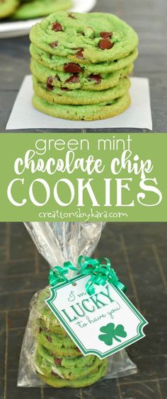 Green Mint Chocolate Chip Cookies - these tasty mint cookies are colored green for St. Patrick's Day. A fun and easy treat! #stpatricksday #mintcookies #greenfood
