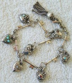 Vintage Sterling Silver Walter Lampl Unsigned Puffy Heart Key Charm Bracelet