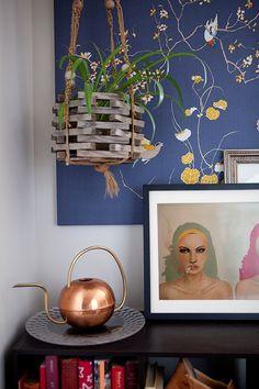 A Hoboken Home Decorated Like a Colorful, Vintage Wardrobe - Design*Sponge Kitchen Cabinet Styles, Vintage Wardrobe, Textiles, Hanging Plants, Craftsman Style, Vintage Colors, Sweet Home, Interior Design, Interior Modern