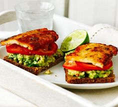 Open rye sandwich with halloumi & avocado. A lunch-friendly rye bread sandwich with salty cheese and guacamole. Serve with a zesty squeeze of lime (healthy sandwiches avocado) Bbc Good Food Recipes, Veggie Recipes, Lunch Recipes, Gourmet Recipes, Vegetarian Recipes, Cooking Recipes, Healthy Recipes, Alkaline Recipes, New Recipes