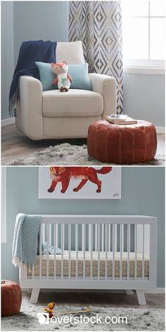 Your newborn will feel right at home in a nursery made just for him. Choose a calming shade of blue for your walls that will help you and your little man relax. A round leather ottoman is a strong masculine accent that also happens to be an extremely comfortable footrest. Cozy up the rest of your nursery by including a soft area rug along with plenty of throw pillows and warm blankets. A piece or two of wall art will keep your nursery from feeling bare and lend some personality and style to…