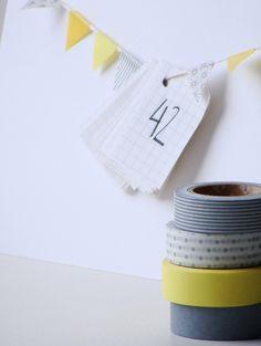 washi tape bunting and wedding countdown card  http://wishywashi.com