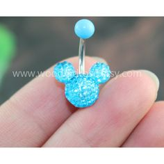 Blue Mouse Blue Crystal belly button ring,Stud Bar Barbell Navel... ($4.99) ❤ liked on Polyvore featuring jewelry, studded jewelry, mouse jewelry and blue jewelry