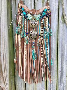 Handmade Brown & Turquoise Leather Fringe Bag Festival Boho Gypsy Purse B.Joy    eBay