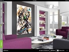 Mock ups of my art in interior. exciting new possibilities of canvas printing of original artwork with resin coverage. Many sizes. Almost identical to original , affordable. Play with sizes . www.feniz.co  Abstract art. Interior. Modern. Living room. Purple. Maria Lankina