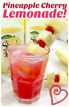 Icy Pineapple Cherry Lemonade for the summer! Icy Pineapple Cherry Lemonade for the summer!,Drinks Enjoy a refreshing beverage this summer! This pineapple cherry lemonade recipe will be a crowd pleaser. Make a cool, icy. Party Drinks, Fun Drinks, Cold Drinks, Healthy Drinks, Beverages, Healthy Food, Nutrition Drinks, Healthy Recipes, Mixed Drinks