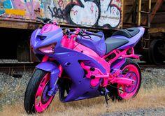 "Representing the Northwest, female stunt rider Andrea ""Drea"" Tanigami is making waves in the stunt community with her pink and purple bike - a Kawasaki Stunt Bike, Kawasaki Zx6r, Suzuki Motorcycle, Street Bikes, Biker Girl, Bike Life, Sport Bikes, Custom Bikes, Cool Bikes"