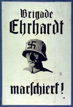 The Ehrhardt Brigade which takes part in the Kapp Putsch are already using the swastika as badge in 1920.