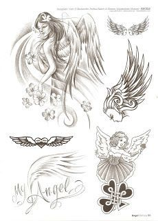 Angel Tattoo Drawings, Angel Wings Drawing, Family Tattoos, Mom Tattoos, Body Art Tattoos, Tattoo Hals, 1 Tattoo, Angel Tattoo For Women, Tatoo Styles