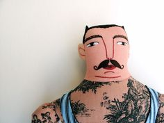 such well-kept eye brows and moustache and love the toile de jouy tattoos! Tatted Men, Tattoo Project, Fabric Dolls, Vintage Looks, Black Stripes, Fabric Crafts, Tattoos For Guys, Art Dolls, Kids Toys
