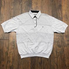 Vintage 1990s 90s Gray 3 Button Elastic Waist Short Sleeve Shirt Mens Streetwear Size L Large Tnz6x