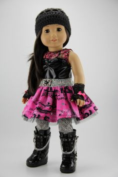 "American Girl doll clothes - 3 piece punk style blossom dress outfit w/ free hand crocheted hat (fits 18"" doll) (436pnk)"