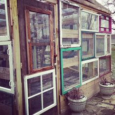 Up-cycled window greenhouse. And if you are Really motivated with those old wind. - Up-cycled window greenhouse. And if you are Really motivated with those old windows 🙂 - Greenhouse Supplies, Backyard Greenhouse, Small Greenhouse, Greenhouse Plans, Greenhouse Wedding, Old Window Greenhouse, Pallet Greenhouse, Winter Greenhouse, Portable Greenhouse