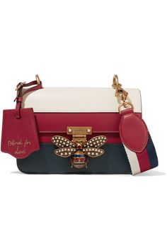 Gucci Queen Margaret Embellished Paneled Leather Shoulder Bag In Red Red Shoulder Bags, Gucci Shoulder Bag, Shoulder Handbags, Leather Shoulder Bag, Fashion Handbags, Purses And Handbags, Fashion Bags, Gucci Handbags, Ladies Handbags