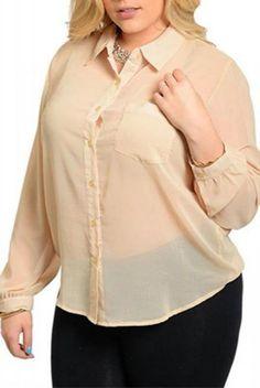 PLUS SIZE 1X Womens Sheer Button Shirt ROMAN Solid Cream Collar Neck Long Sleeve #ROMAN #ButtonDownShirt #Career
