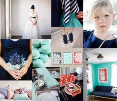 Maybe this color combo instead..Navy Aqua Coral Wedding Colors... Instead of aqua how about mint