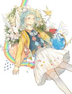 ✮ ANIME ART ✮ rainbow ♥ anime girl. . .sleeping. . .sweater. . .candy. . .pleated skirt. . .flowers. . .birds. . .surreal. . .fantasy. . .cute. . .kawaii
