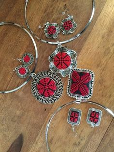 Silver colour Necklace and earing sets with Red handmade Palestinian Embroidery / Cross Stitch