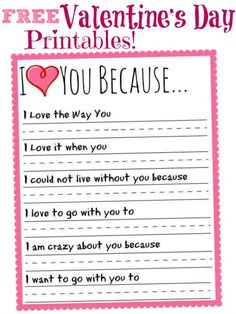 I Love You Because Valentines Day Printable! - I Love You Because Valentines Day Printable! Easy DIY Valentine's Day Treats and Games for Kids! Quotes Valentines Day, Kinder Valentines, Valentines Day Activities, Valentine Day Love, Valentines Day Party, Valentine Day Crafts, Valentine Games, Valentine Ideas, Daddy Valentine Gifts