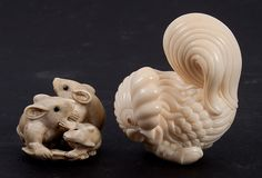Two Japanese carved ivory netsukes comprising rooster, signed in characters, and group of three mice, with ink highlights,1 1/2 to 2 in. H.