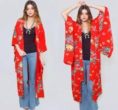 Vintage 80s KIMONO Jacket INDONESIAN Jacket Printed DOLAMN Sleeve ...
