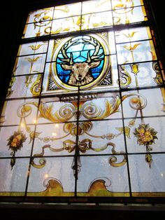 A stained glass window at The Stag's Head - Located just off Dame Street near Trinity College, Dublin, Ireland.  Via: The Celtic Current