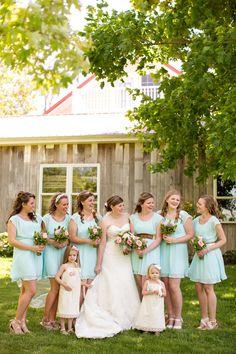 wedding party, aqua mint bridesmaid dresses, aqua mint men's ...