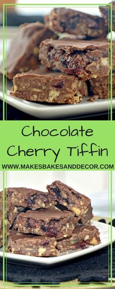 An easy no bake recipe for chocolate cherry tiffin. A delicious British tea time treat using biscuits, chocolate and cherries halloween baking recipes Tray Bake Recipes, Easy Baking Recipes, Vegan Recipes, Easy Desserts, Dessert Recipes, Cake Recipes, Easy Sweets, Easy Snacks, Dessert Bars