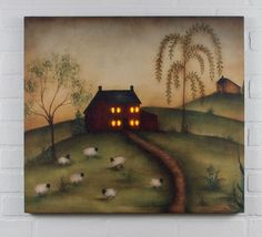 Shelley B Home and Holiday - Radiance Lighted Canvas Good Life Folk Art Saltbox House, Sheep, Willow Trees, $45.00 (http://shelleybhomeandholiday.com/radiance-lighted-canvas-good-life-folk-art-saltbox-house-sheep-willow-trees/)