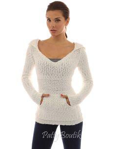 Hoodie Long Sleeve Open Stitch Sweater - PattyBoutik